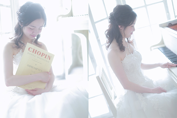 ピアノと白いドレスの女性